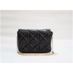 Zara Quilted Black Mini Shoulder Crossbody Purse